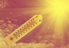 thermometer on wood plate sunshine background